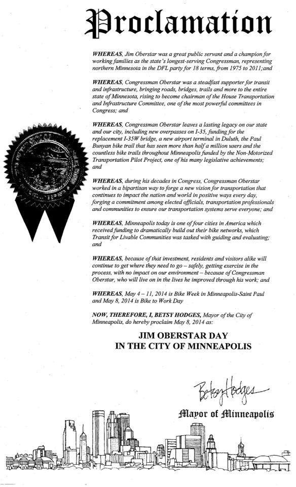 5 8 14 Oberstar Proclamation